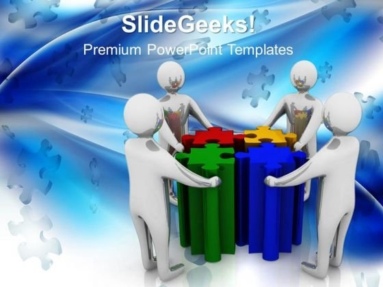 People With Puzzle Teamwork PowerPoint Templates And PowerPoint Themes 1012