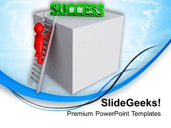 Person Climbing Ladder Of Success PowerPoint Templates Ppt Backgrounds For Slides 0713