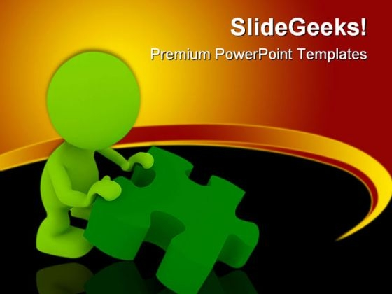 Person Holding Puzzle Metaphor PowerPoint Templates And PowerPoint Backgrounds 0311