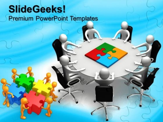 Person Round Table And Puzzle Pieces Jigsaw PowerPoint Templates And PowerPoint Themes 0612