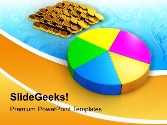 Pie Chart And Coins Business PowerPoint Templates Ppt Backgrounds For Slides 0113