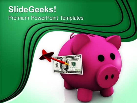 Piggy Bank And Currency Saving Business PowerPoint Templates Ppt Backgrounds For Slides 0413