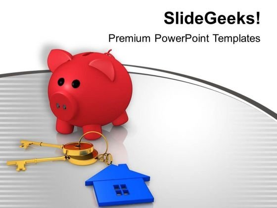 Piggy Bank And House Key Security PowerPoint Templates Ppt Backgrounds For Slides 0313