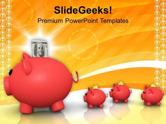 Piggy Bank Family Of Dollar Savings PowerPoint Templates Ppt Backgrounds For Slides 0313
