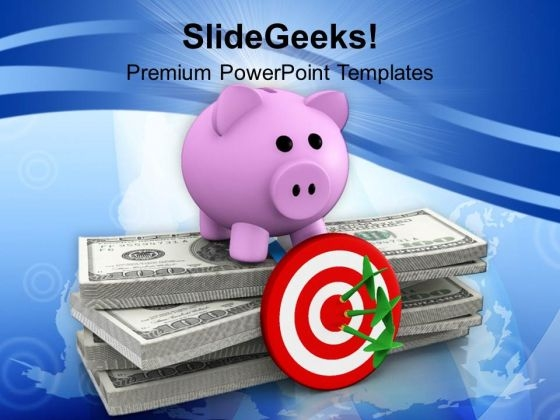 Piggy Bank Investment Concept Target PowerPoint Templates Ppt Backgrounds For Slides 1212