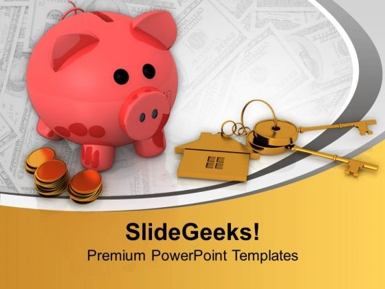 Piggy Bank Saving And Security Real Estate PowerPoint Templates Ppt Backgrounds For Slides 1112