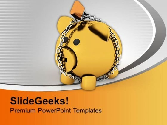 Piggy Bank With Chain Lock Security PowerPoint Templates Ppt Backgrounds For Slides 0313