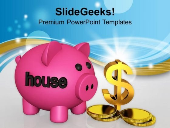 Piggy Bank With Dollar Symbol Saving PowerPoint Templates Ppt Backgrounds For Slides 0113