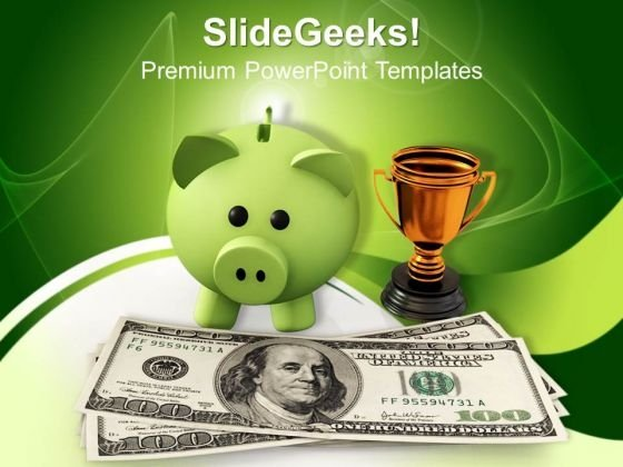 Piggy Bank With Gold Trophy Investment PowerPoint Templates And PowerPoint Themes 1012
