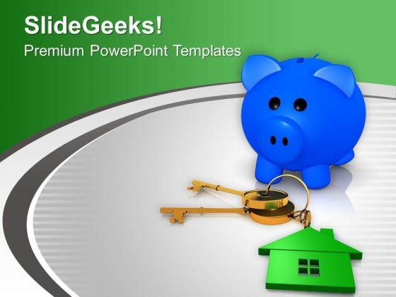 Piggy Bank With House Keys PowerPoint Templates Ppt Backgrounds For Slides 0213