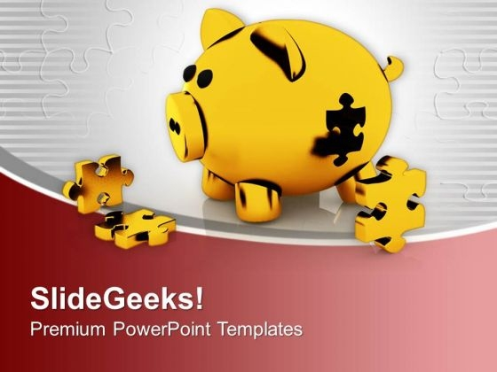 Piggy Bank With Puzzles Solution Concept PowerPoint Templates Ppt Backgrounds For Slides 0313