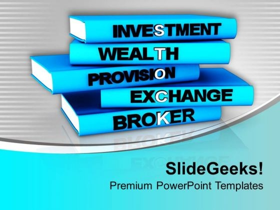 Pile Of Books With Financial Terms PowerPoint Templates Ppt Backgrounds For Slides 0713