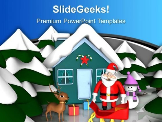 Pink Snowmen With Santa Hut Christams Festival PowerPoint Templates Ppt Backgrounds For Slides 0113