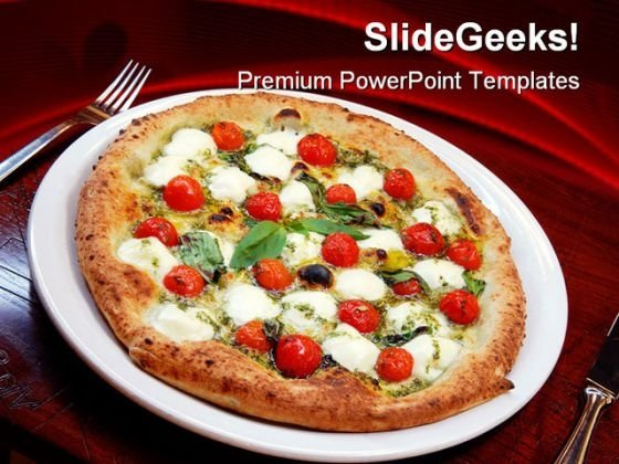 Pizza With Tomatoes And Cheese Food PowerPoint Themes And PowerPoint Slides 0311