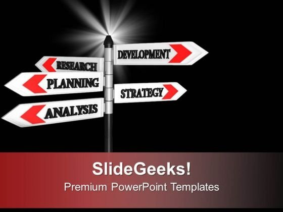 Planning Strategy Analysis On Signpost PowerPoint Templates Ppt Backgrounds For Slides 0313