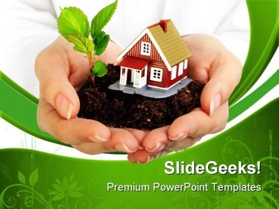 Plant And Home In Hands Nature PowerPoint Templates And PowerPoint Backgrounds 0611