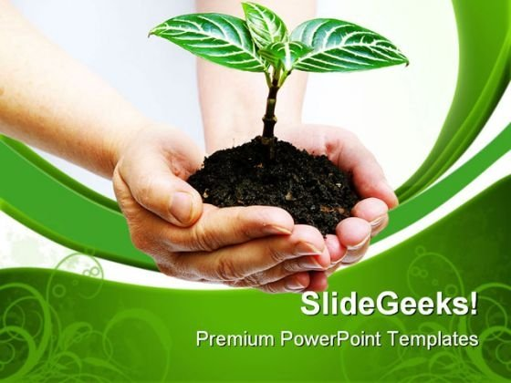Plant In Hands Environment PowerPoint Templates And PowerPoint Backgrounds 0611