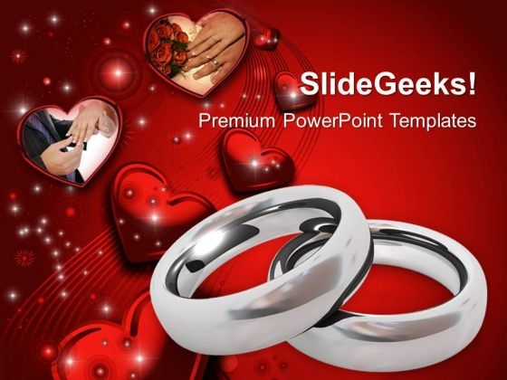 Platinum Wedding Rings With Hearts PowerPoint Templates Ppt Backgrounds For Slides 0213