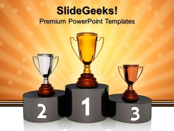 Podium With Golden Trophy Winner Success PowerPoint Templates And PowerPoint Themes 0612