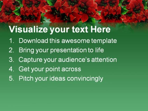Poinsettias Christmas Powerpoint Template   Powerpoint Themes