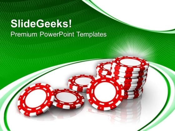 Poker Chips With Casino Theme PowerPoint Templates Ppt Backgrounds For Slides 0413