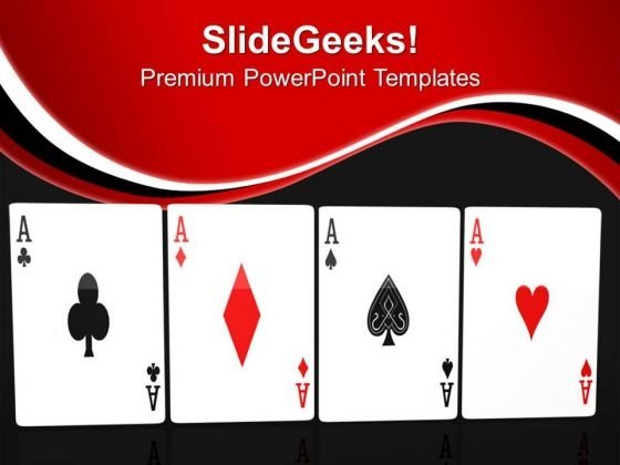 Poker Hand Of Four Aces Playing Cards PowerPoint Templates Ppt Backgrounds For Slides 0313
