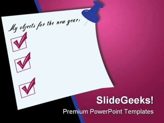 Postit With Goals Business PowerPoint Backgrounds And Templates 0111
