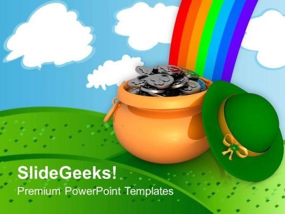 Pot Of Treasure On Rainbow Background PowerPoint Templates Ppt Backgrounds For Slides 0313