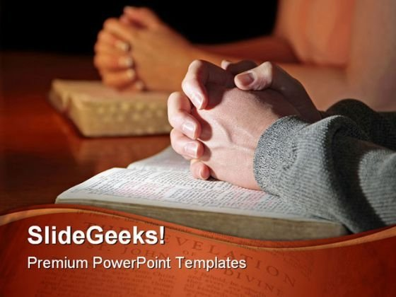 Praying Couple Religion PowerPoint Template 0610
