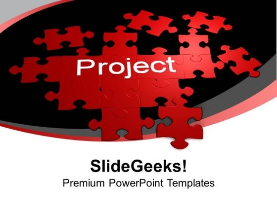 Project Red Puzzles Forming Solution PowerPoint Templates Ppt Backgrounds For Slides 0313