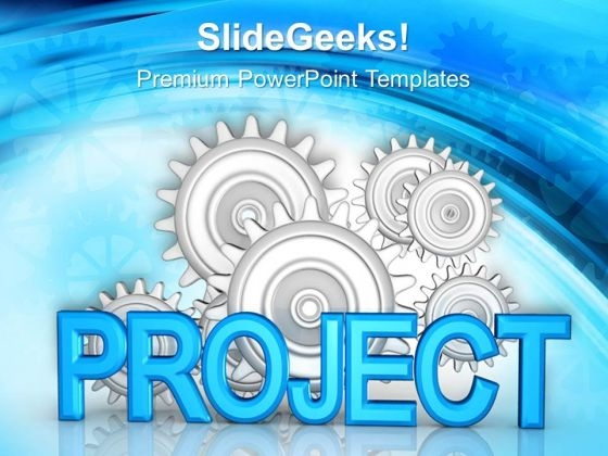 Project With Cogs Business PowerPoint Templates And PowerPoint Themes 0712