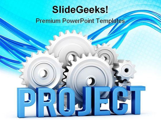 Project With Cogs Business PowerPoint Themes And PowerPoint Slides 0511