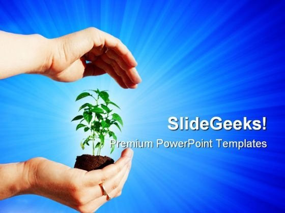 Protecting A Plant Nature PowerPoint Themes And PowerPoint Slides 0511