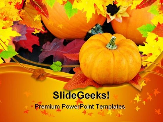 Pumpkins Daisies And Fall Nature PowerPoint Templates And PowerPoint Backgrounds 0411