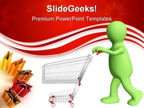 Puppet Going For Purchases Sales PowerPoint Templates And PowerPoint Backgrounds 0311