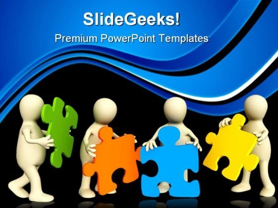 Puppets Holding Puzzles Communication PowerPoint Themes And PowerPoint Slides 0611