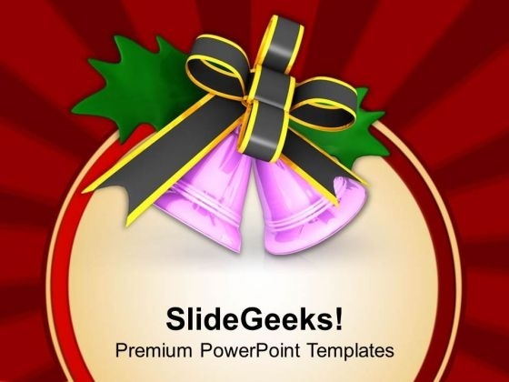 Purple Jingle Bells With Grey Bow PowerPoint Templates Ppt Backgrounds For Slides 1212