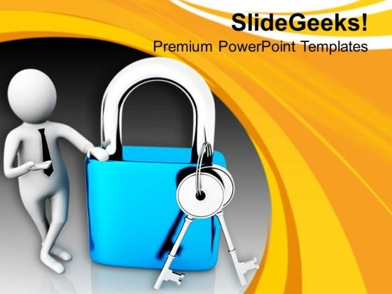 Put Right Lock For Security PowerPoint Templates Ppt Backgrounds For Slides 0713