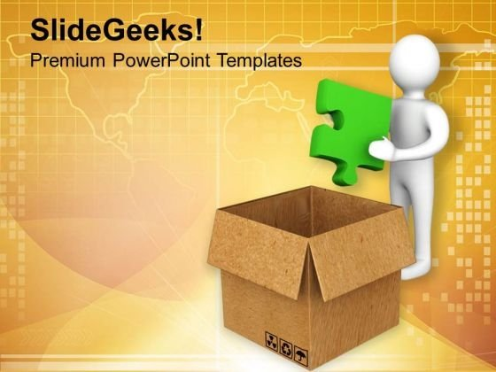 Put Right Solution Puzzle In Box PowerPoint Templates Ppt Backgrounds For Slides 0713