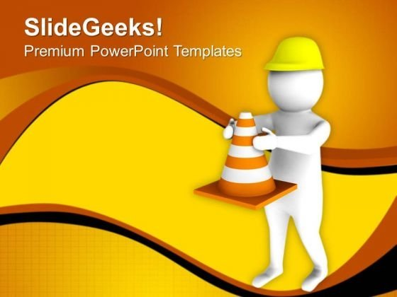 Put Some Warning Signs For Road Construction PowerPoint Templates Ppt Backgrounds For Slides 0713