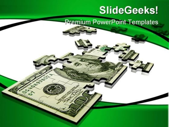 Puzzle Dollar Money PowerPoint Background And Template 1210