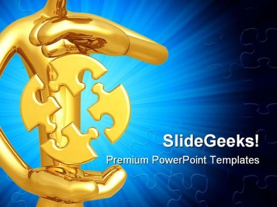 Puzzle Hovering Symbol PowerPoint Template 0910
