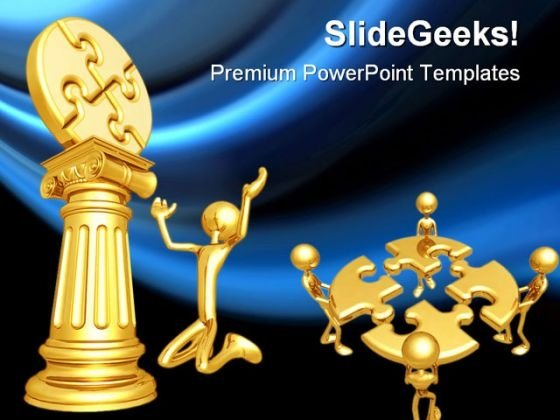 Puzzle Idol Teamwork PowerPoint Backgrounds And Templates 1210