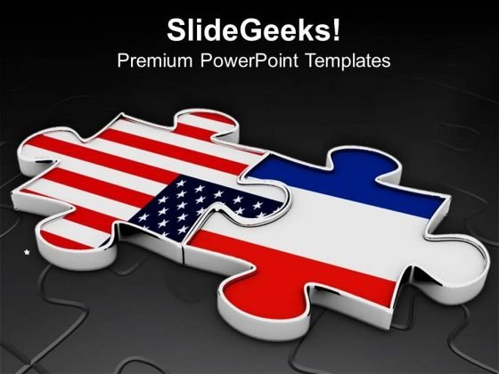 Puzzle Pieces Of Us Flag And France Flag PowerPoint Templates Ppt Backgrounds For Slides 0813