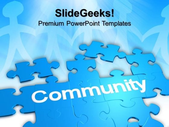 Puzzle With The Word Community Business Powerpoint Templates And