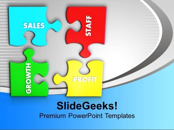 Puzzles With Sales Staff Growth Profit PowerPoint Templates Ppt Backgrounds For Slides 0113