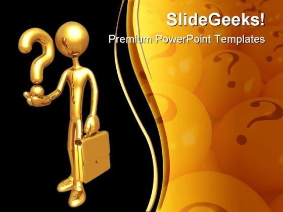 Question Man Symbols PowerPoint Template 0510