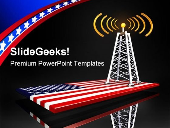 Radio Tower And Us Flag Americana PowerPoint Template 0910