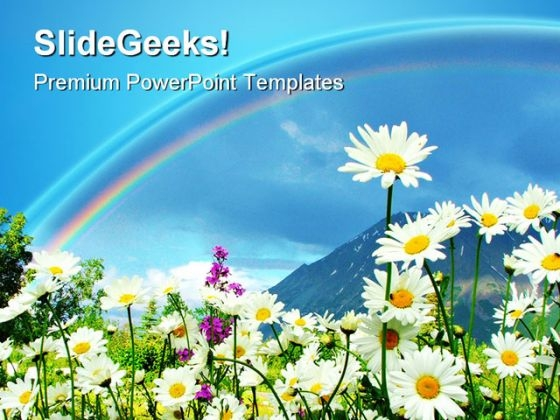 Rainbow And Flowers Beauty PowerPoint Templates And PowerPoint Backgrounds 0611