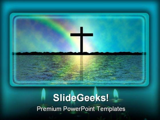 Rainbow Of Faith Religion PowerPoint Template 0610